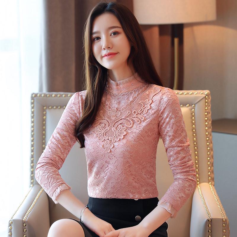 實拍8057秋冬裝新款加絨加厚蕾絲衫女長袖打底衫韓版修身立領上衣