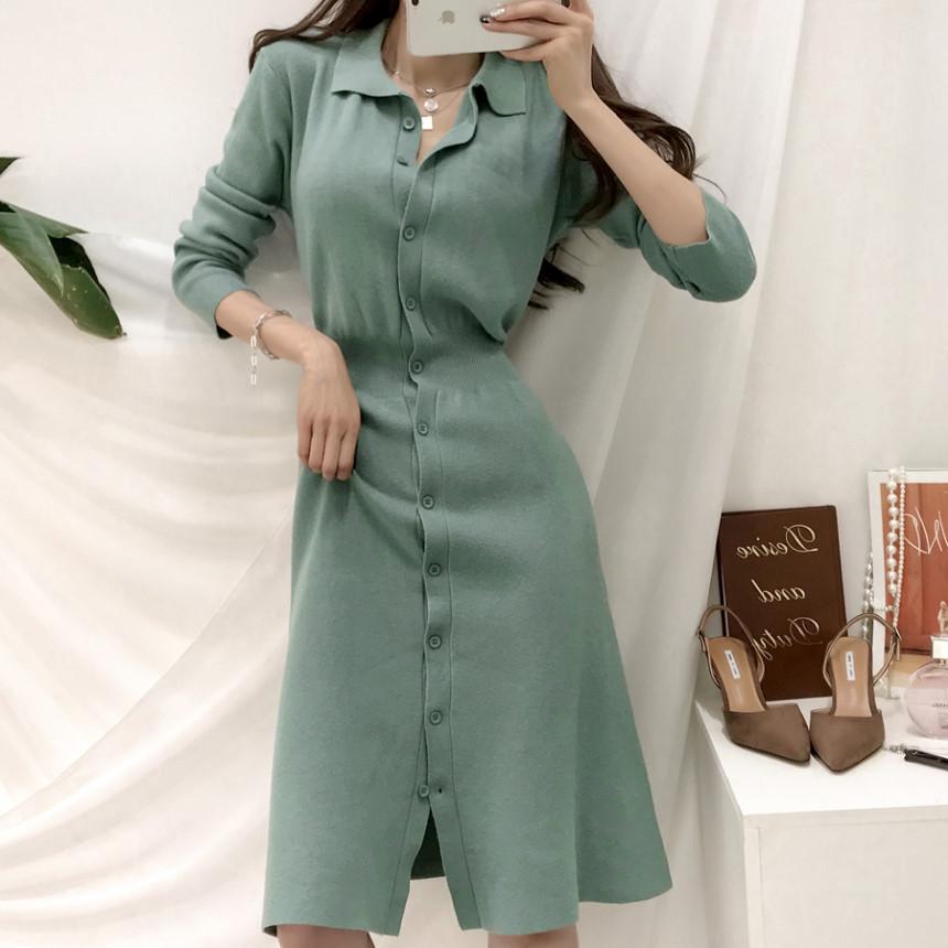 韓國Chic 罕見松果綠收腰顯瘦排扣POLO領針織連衣裙
