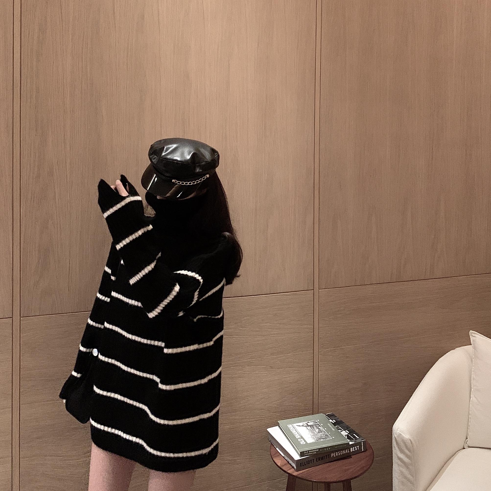 实拍实价宽松外穿高领毛衣套头慵懒风中长款韩版条纹针织毛衣