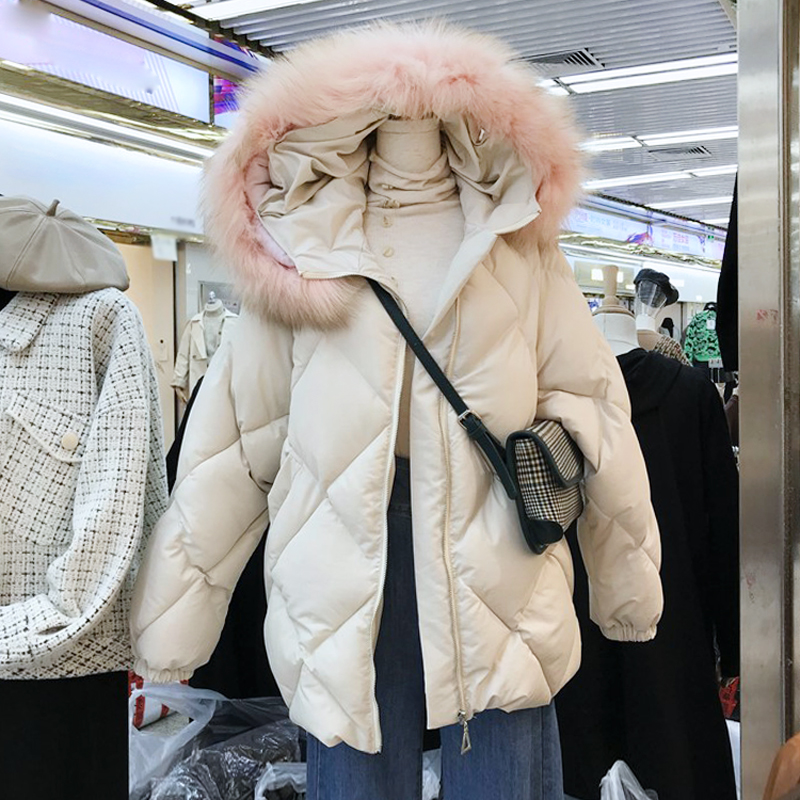 韩国秋冬2019年新款羽绒棉毛领外套女保暖宽松连帽菱形棉衣棉服