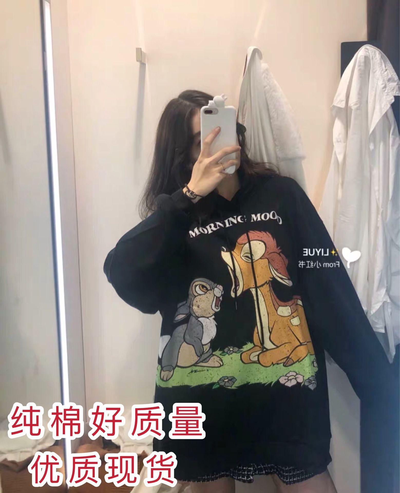 2019新款秋冬卡通小鹿斑比vetiver韓版寬松加絨衛衣外套女ins潮