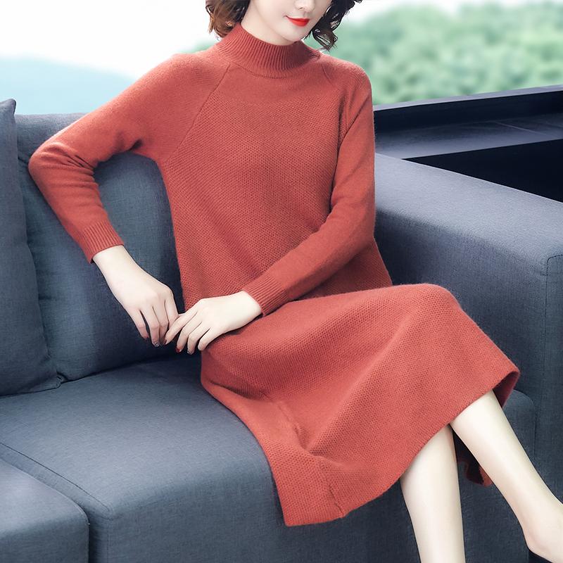 中长款毛衣女宽松外穿2019秋冬新款洋气加厚打底衫过膝针织连衣裙