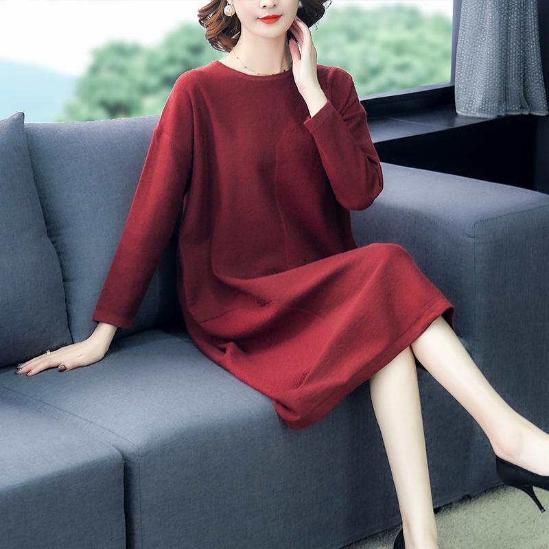 贵夫人女士毛衣宽松外穿2019秋装新款韩版大码长袖套头针织连衣裙