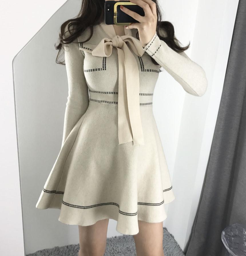 韓國chic氣質優雅蝴蝶結系帶高腰撞色針織連衣裙