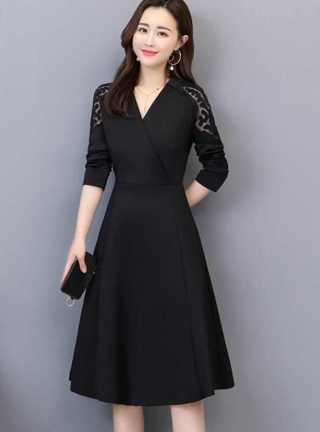 秋裝2019年新款大碼女裝胖mm秋冬時尚氣質長袖打底連衣裙減齡顯瘦