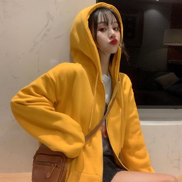 亚博娱乐平台入口 韩国INS学院风纯色百搭加绒加厚口袋拉链卫衣开衫外套