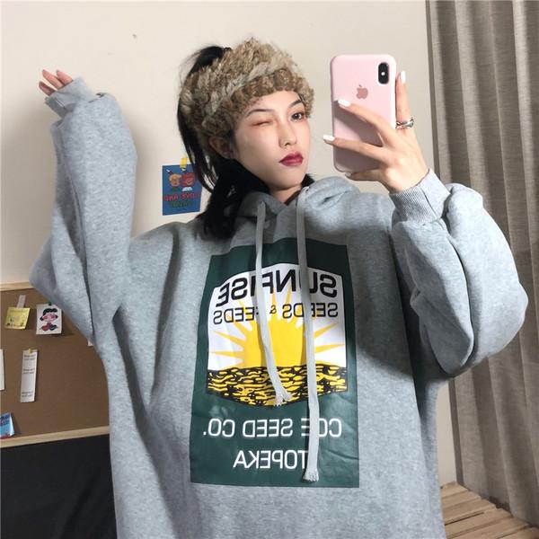 亚博娱乐平台入口#2019秋冬韩版长袖连帽卫衣女加绒加厚外套上衣