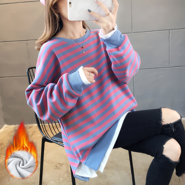 亚博娱乐平台入口300克复合冬季新款韩版宽松条纹加绒长袖圆领假两件卫衣女