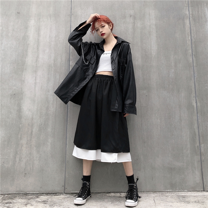控35兩面穿傘裙韓國ins復古半身裙日系原宿蓬蓬裙百搭雙面可穿裙
