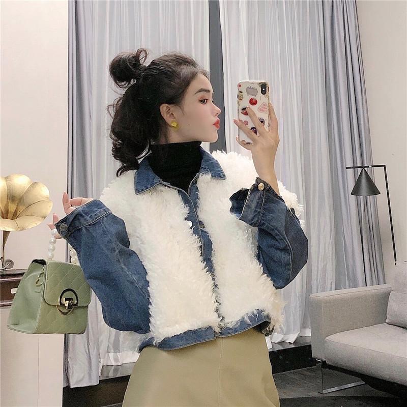 實拍實價 控價5 韓版翻領羊羔毛拼接牛仔寬松短款外套