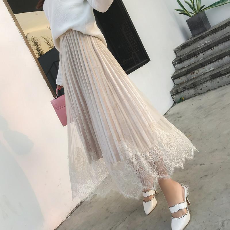 實拍19韓版高腰百褶半身裙女網紗蕾絲邊拼接鉆石絨絲絨中長大擺裙