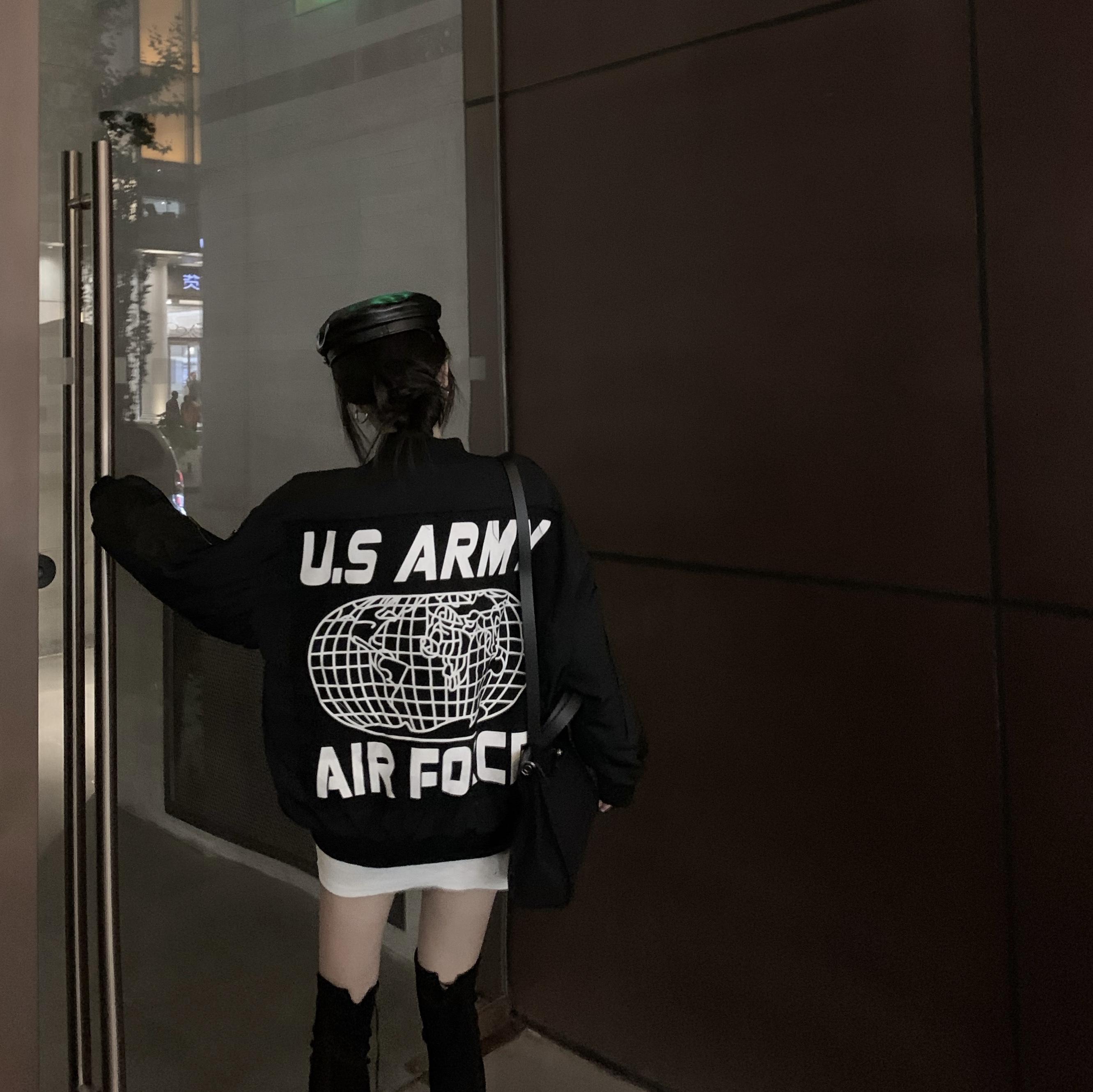 实拍实价秋冬韩版宽松外套加棉保暖字母印花BF风夹克