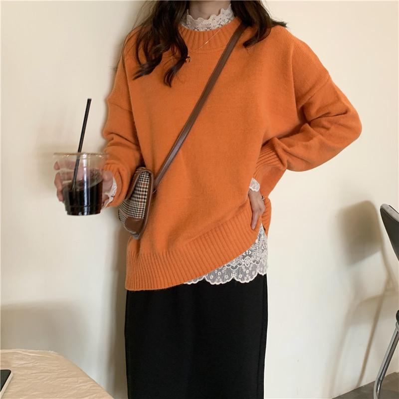亚博娱乐平台入口 控价+5 立领蕾丝打底衫搭配+纯色宽松元气橘毛衣