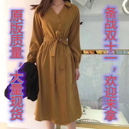秋冬女装2019新款潮气质翻领单排扣中长款衬衫长裙绒打底连衣裙女