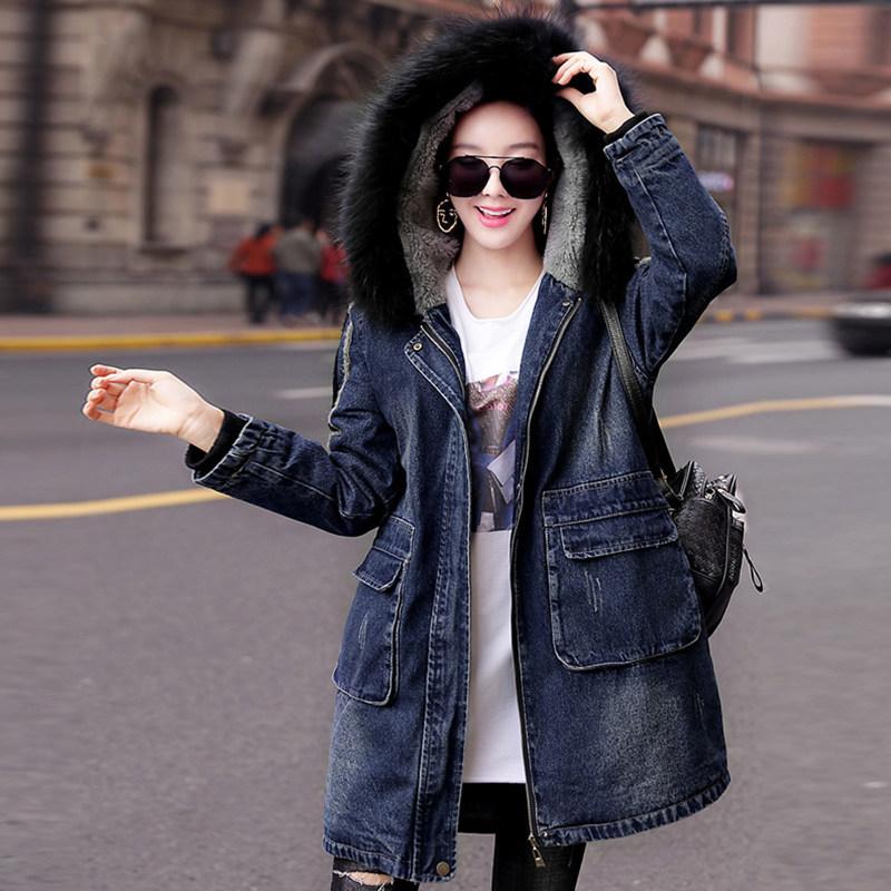 羊羔毛外套女裝2019冬季新款加厚牛仔棉衣時尚中長款寬松保暖棉服
