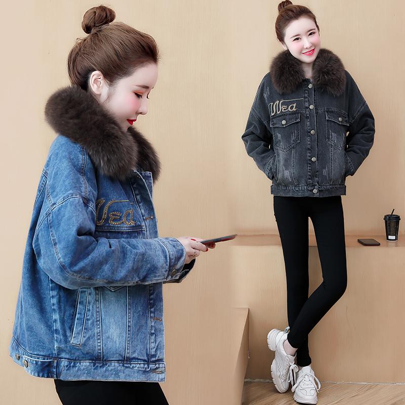 牛仔棉衣女短款2019冬季新款加厚加絨棉服韓版寬松羊羔毛外套 潮