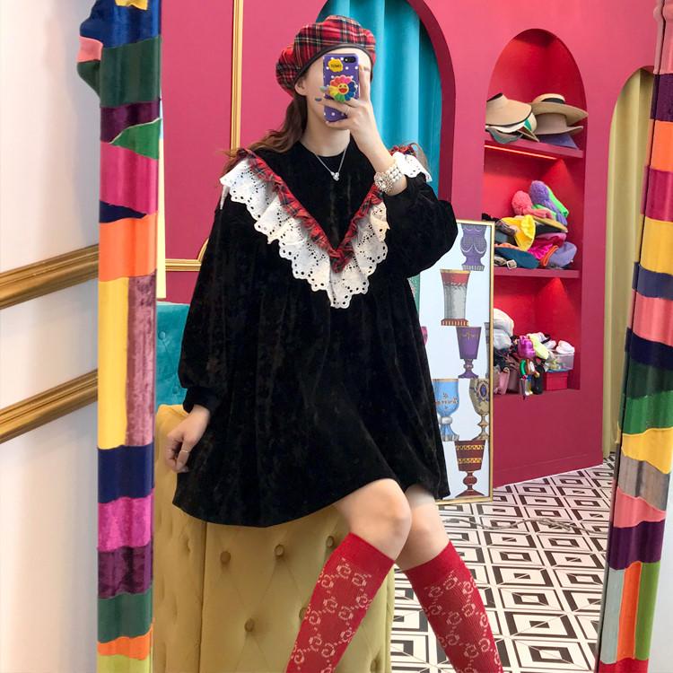 實價 2019秋冬新款法式復古絲絨拼接蕾絲娃娃領寬松設計感連衣裙