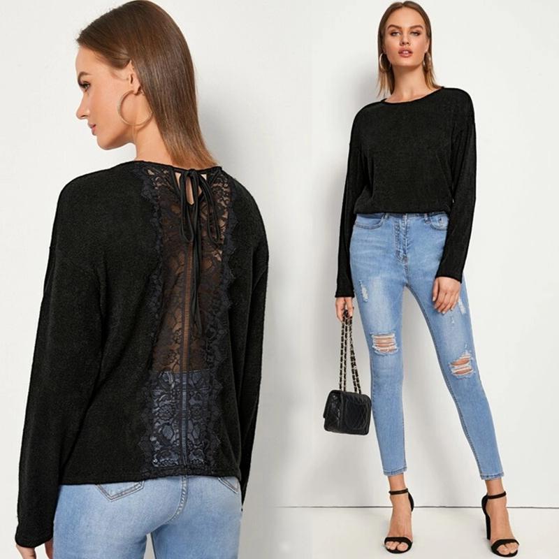 速賣通亞馬遜針織衫歐美女裝后背蕾絲拼接系帶長袖針織衫毛衣