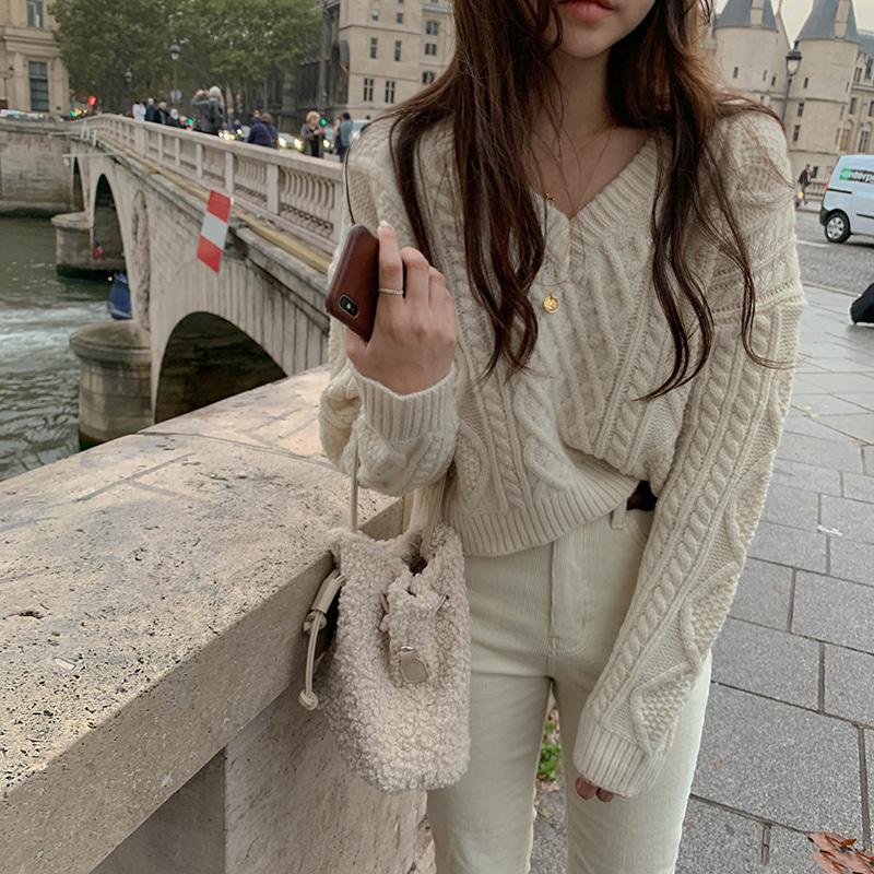 韩国chic秋冬款V领麻花毛衣宽松慵懒风针织衫