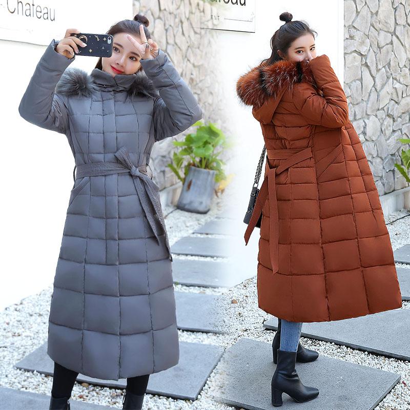 實拍長款棉衣女冬新款韓版收腰顯瘦系帶大碼羽絨棉服氣質外套潮