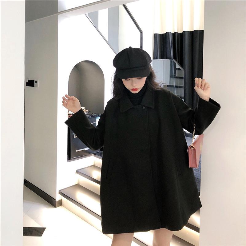 實拍實價 秋冬新款氣質減齡斗篷呢子大衣毛呢外套