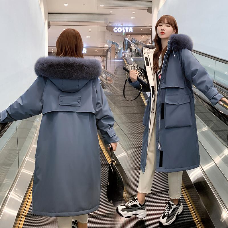 實拍2019新款羽絨服 女長款加厚魔術貼派克服抽繩韓版棉服外套