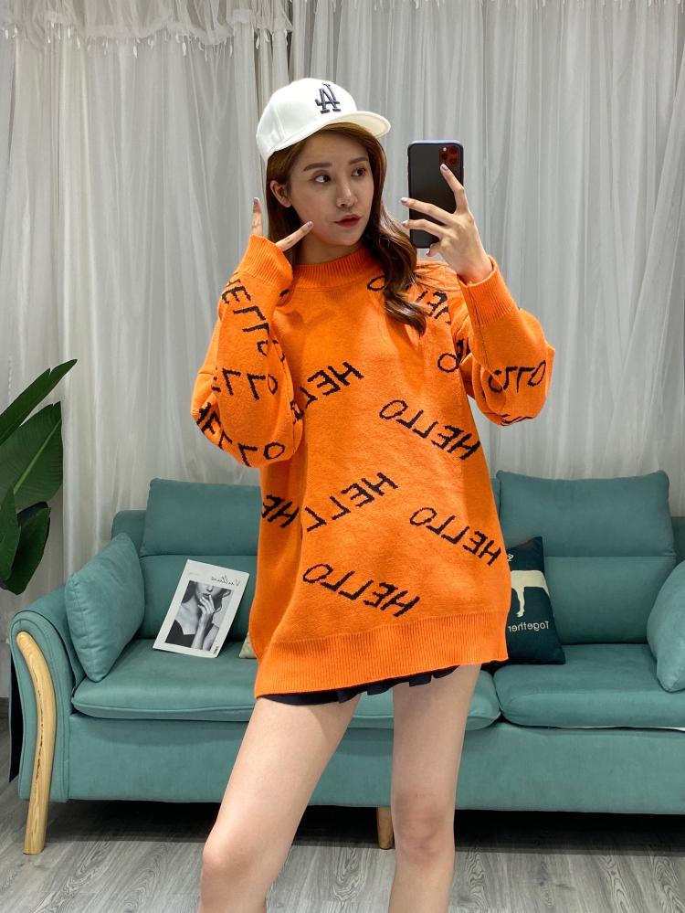 2019新款潮網紅慵懶風圓領字母中長款針織上衣