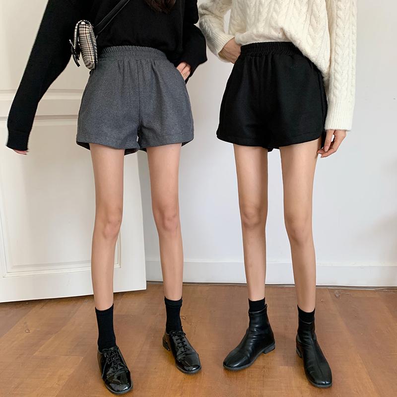控5 实拍实价 毛呢短裤热裤高腰外穿阔腿靴裤