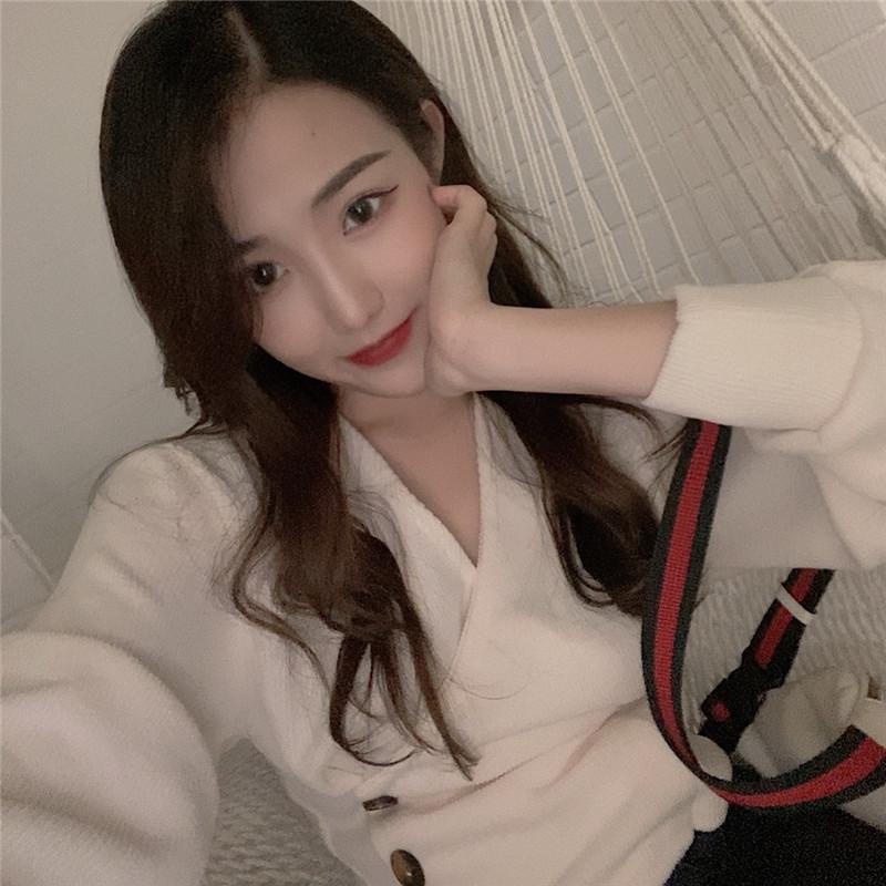 實拍實價 秋季新款韓系簡約V領收腰針織上衣女