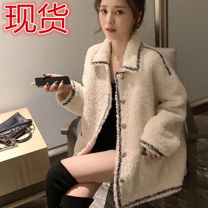 2019新款秋冬季韓版復古港味小香風短外套寬松百搭羊羔毛絨女裝潮