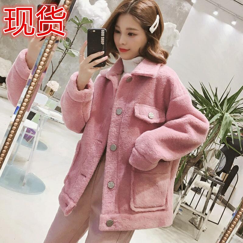 短款仿羊羔毛外套女2019新韓版寬松翻領毛絨加厚皮毛一體夾克上衣