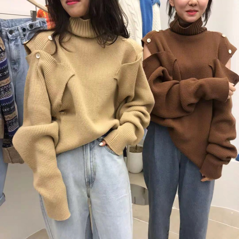 韩国东大门2019新款时尚纯色露肩毛衣可调节高领宽松休闲针织时尚
