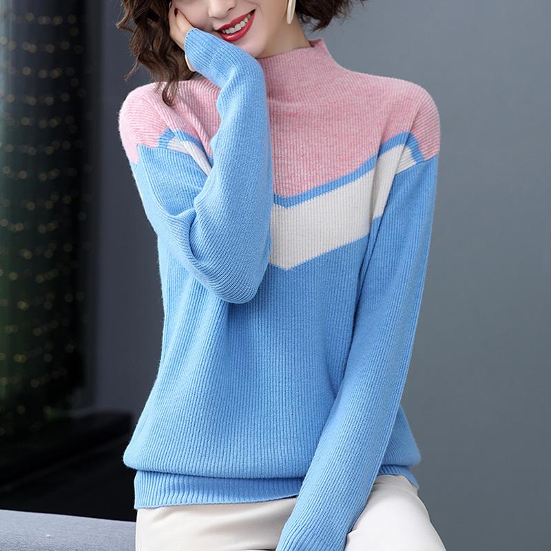 大量现货 2019秋冬新款半高领撞色打底针织衫宽松毛衣女