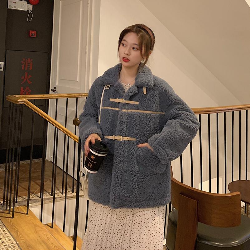實拍實價 秋冬新款韓版女裝羊羔毛小翻領開衫長袖外套