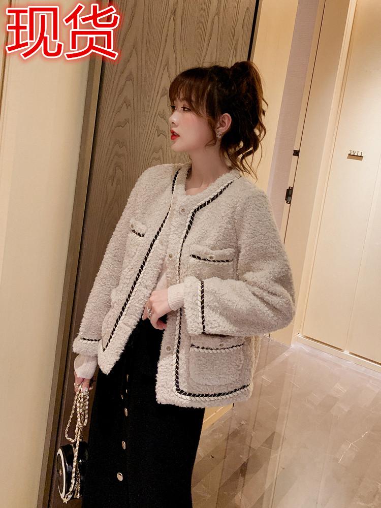 2019秋裝新款氣質小香風羊羔毛短外套女韓版寬松小個子夾克衫上衣