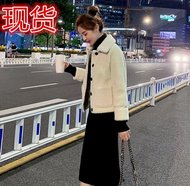 羊羔毛外套女2019冬季新款加厚小個子短款皮毛一體顆粒羊剪絨外套