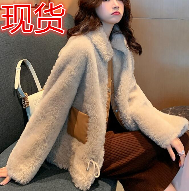 羊羔毛外套女冬短款韓版寬松鹿皮絨2019新款東大門羊羔絨皮毛一體