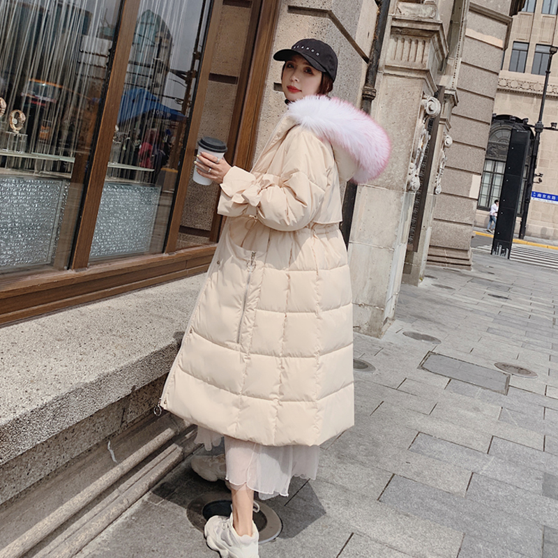 實拍冬季新款中長款棉衣學生過膝大毛領羽絨棉服外套東大門韓國潮