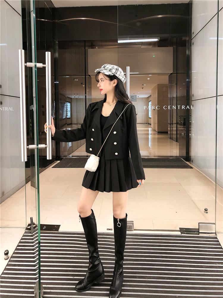 實拍時間氣質韓版雙排扣短款西裝外套+百褶裙套裝