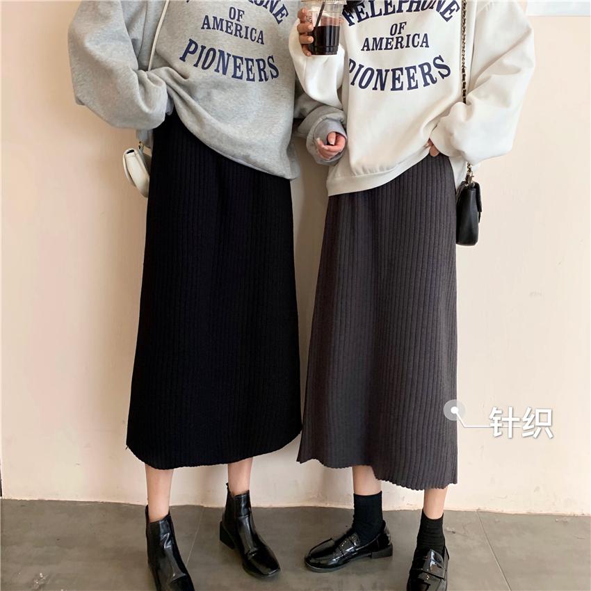 實拍實價 韓版秋冬無敵百搭ins風高腰松緊腰坑條顯瘦針織半身裙女