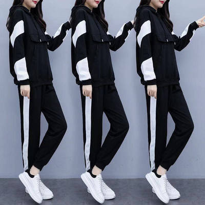 大碼女裝胖mm套裝2019秋冬新款洋氣顯瘦加絨時尚運動兩件套潮