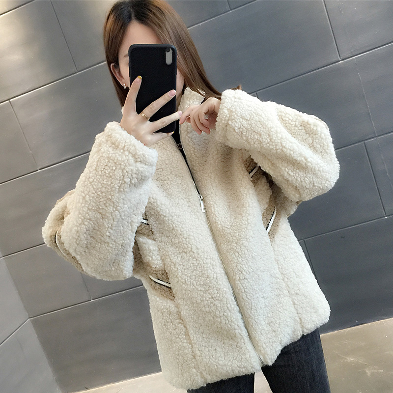 YG015#實拍 2019新款厚實保暖羊羔毛立領拉鏈短外套女潮ins