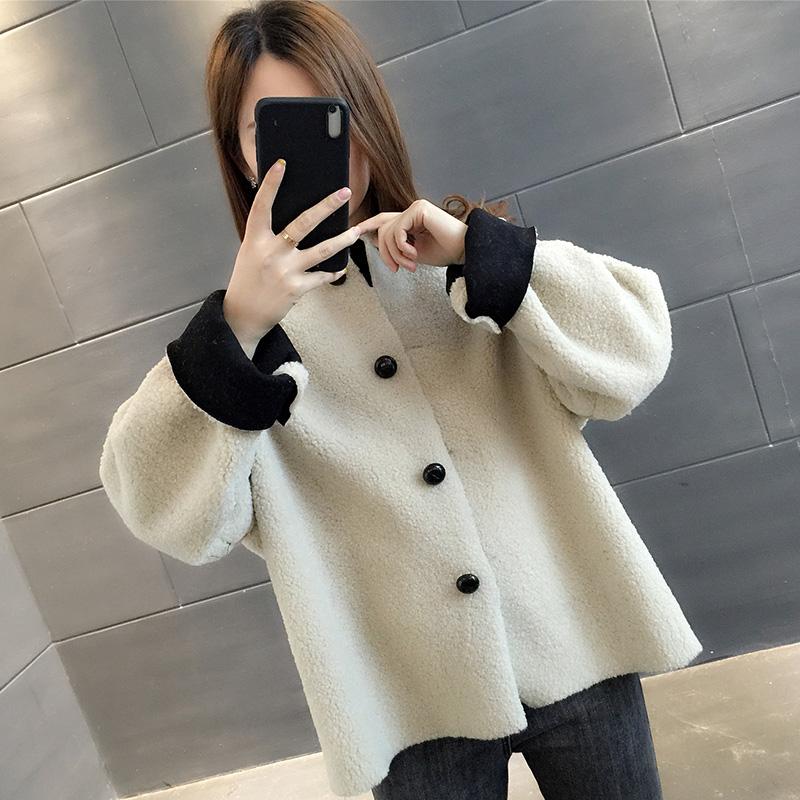 YG017#實拍冬2019新款韓版寬松保暖加厚羊羔毛短外套女開衫潮