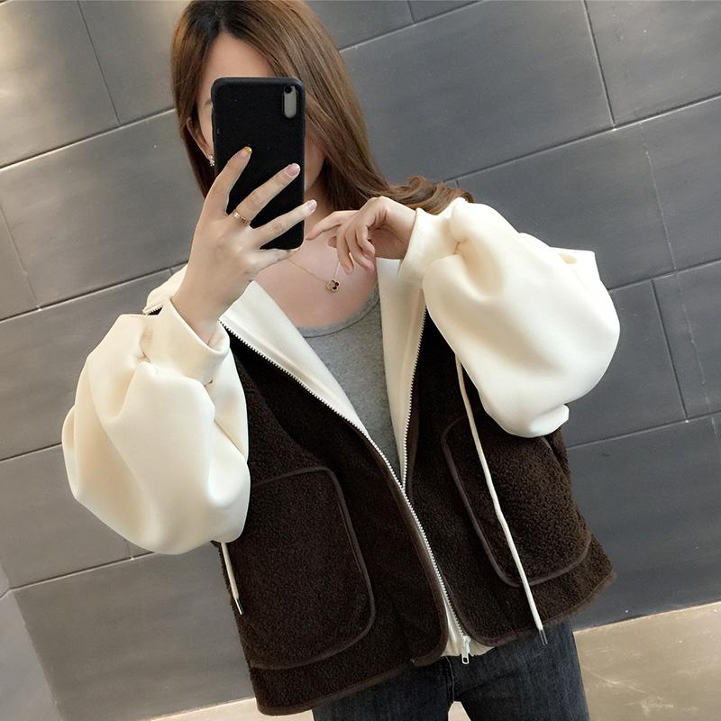 YG018#實拍2019韓版冬裝新款加厚羊羔毛假兩件連帽短外套女ins潮