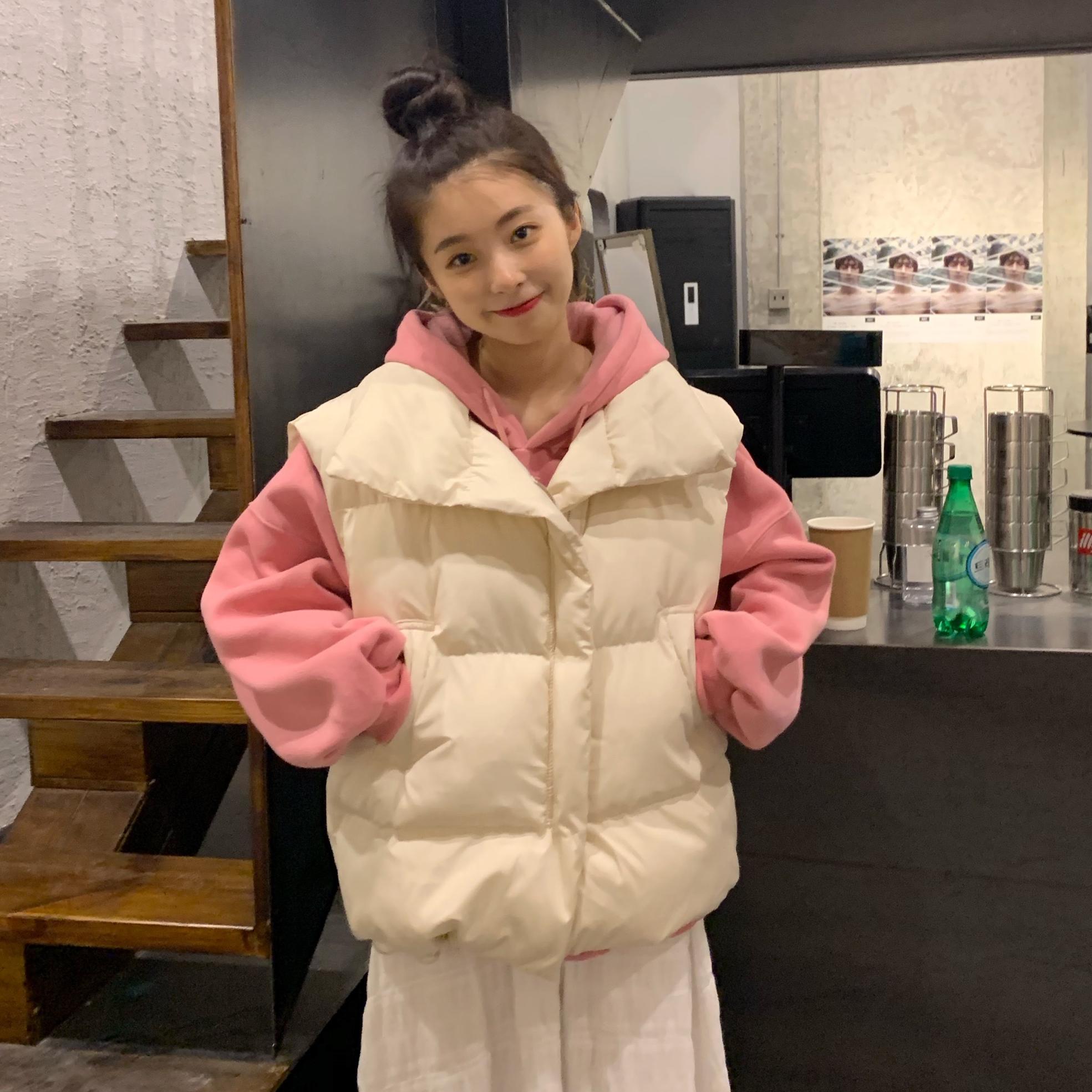 實拍實價 韓版2019冬季百搭洋氣面包服馬甲背心外套女