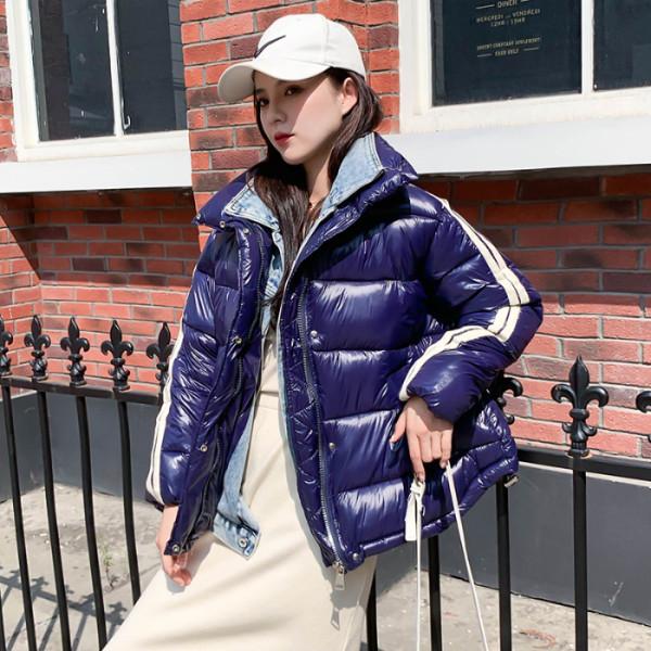 實拍2019韓版新款假兩件套羽絨服牛仔拼接立領學生棉衣外套女網紅