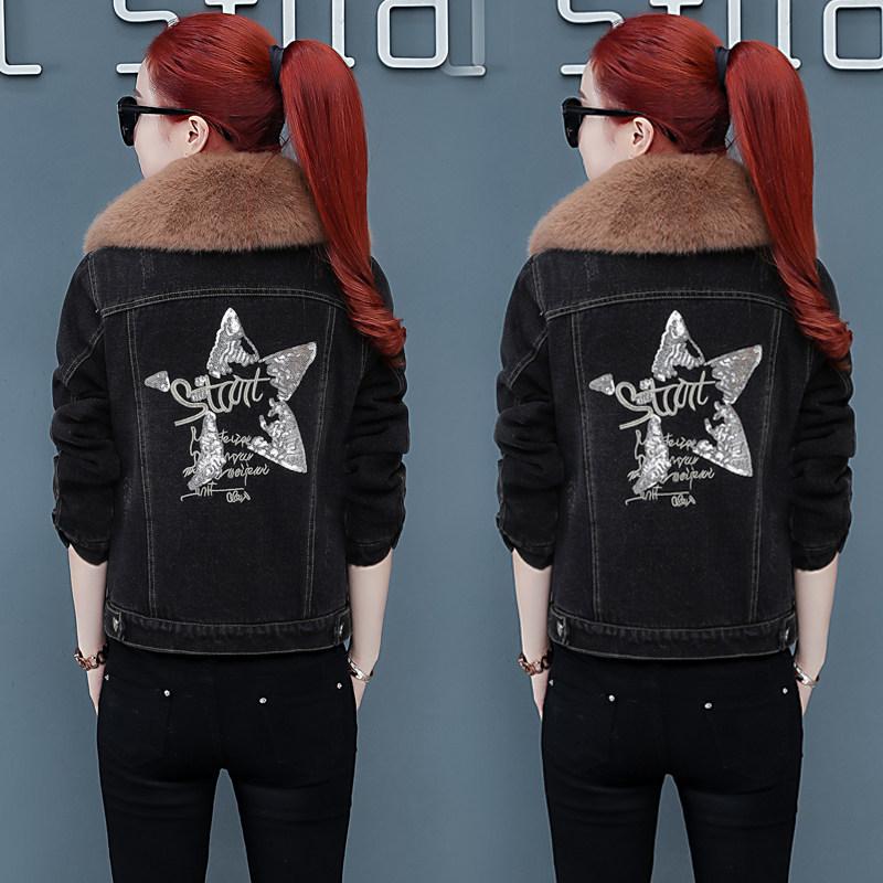 短款牛仔外套加絨加厚女冬2019新款冬裝韓版休閑大碼小個子短棉服