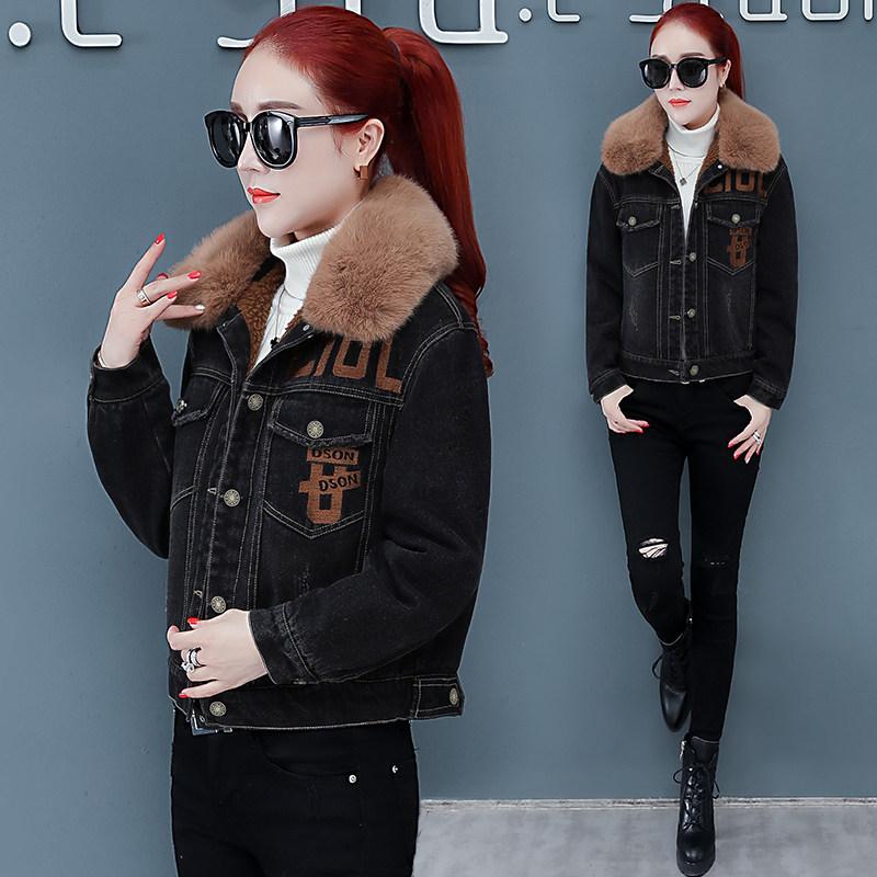 2019冬季新款加絨加厚棉衣女短款小個子韓版牛仔棉服羊羔毛短外套