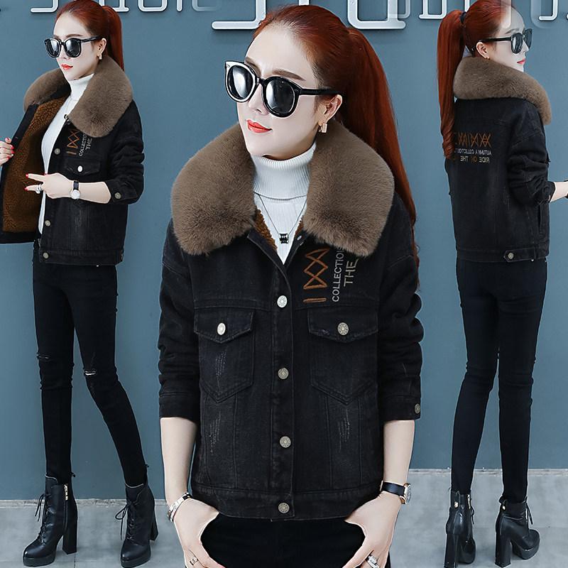 加絨加厚牛仔外套女短款2019秋冬季新款韓版寬松棉服羊羔毛領棉衣