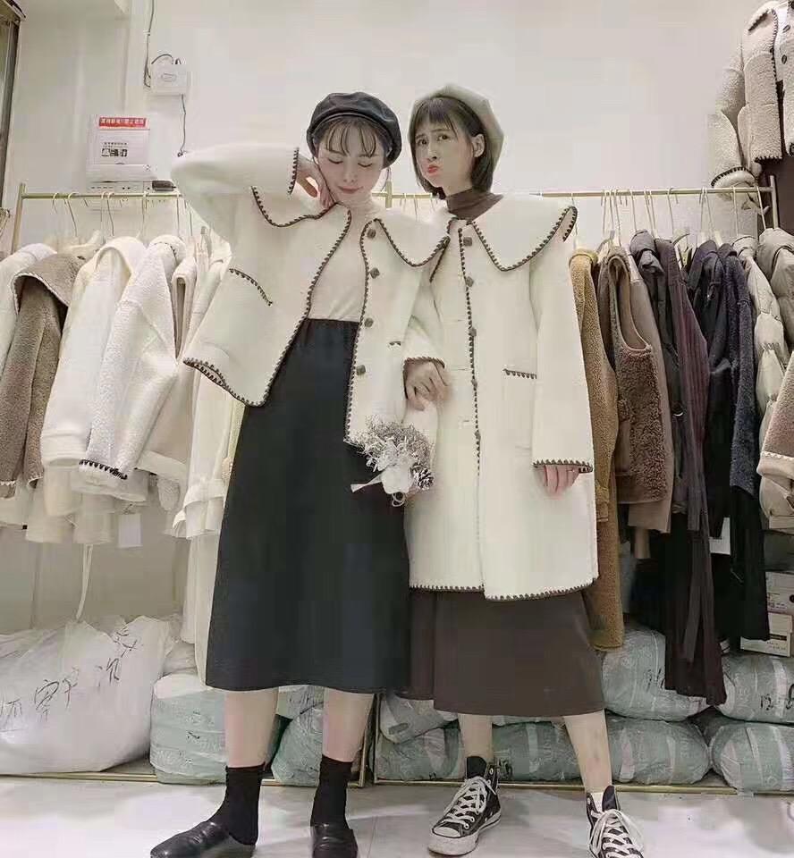 毛毛鹿皮絨皮毛一體外套女秋冬裝新款韓版寬松閨蜜裝小個子上衣